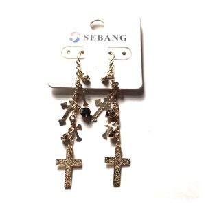 75edc888d Jewelry | Gold And Black Cross Earring Jesus Earrings Trendy | Poshmark